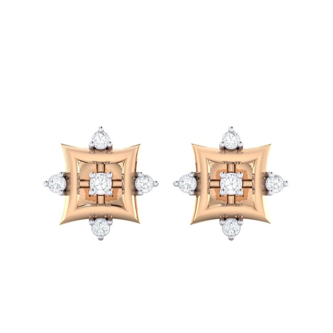 18Kt rose gold real diamond earring 29(2) by diamtrendz