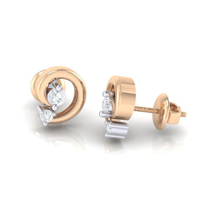 18Kt rose gold real diamond earring 30(3) by diamtrendz