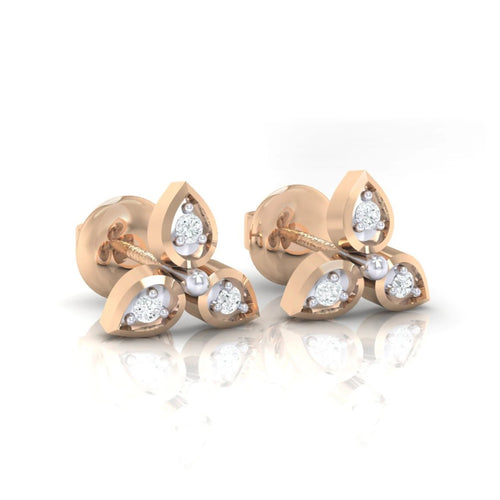 18Kt rose gold real diamond earring 31(1) by diamtrendz