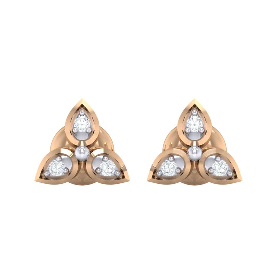18Kt rose gold real diamond earring 31(2) by diamtrendz