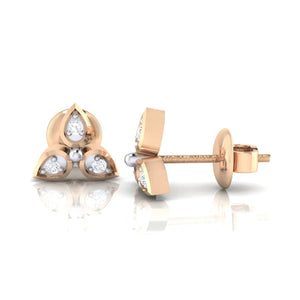 18Kt rose gold real diamond earring 31(3) by diamtrendz