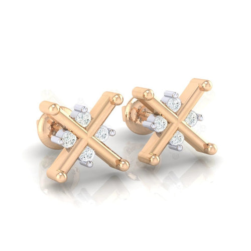 18Kt rose gold real diamond earring 32(1) by diamtrendz