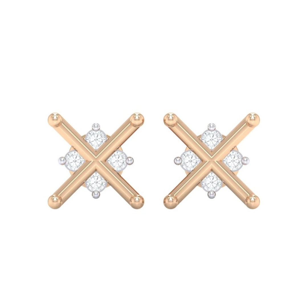 18Kt rose gold real diamond earring 32(2) by diamtrendz