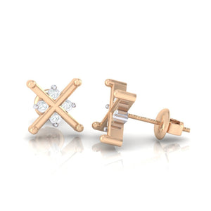 18Kt rose gold real diamond earring 32(3) by diamtrendz