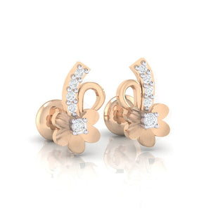18Kt rose gold real diamond earring 33(1) by diamtrendz