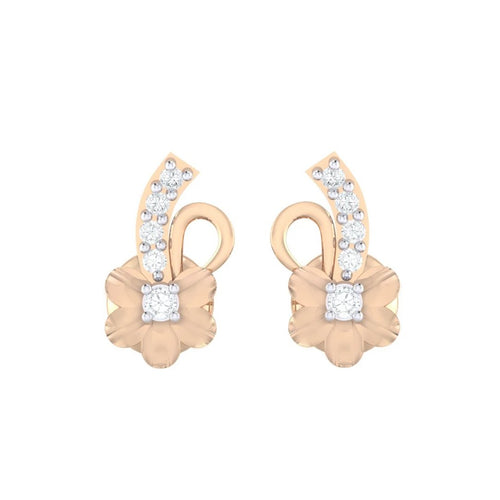 18Kt rose gold real diamond earring 33(2) by diamtrendz