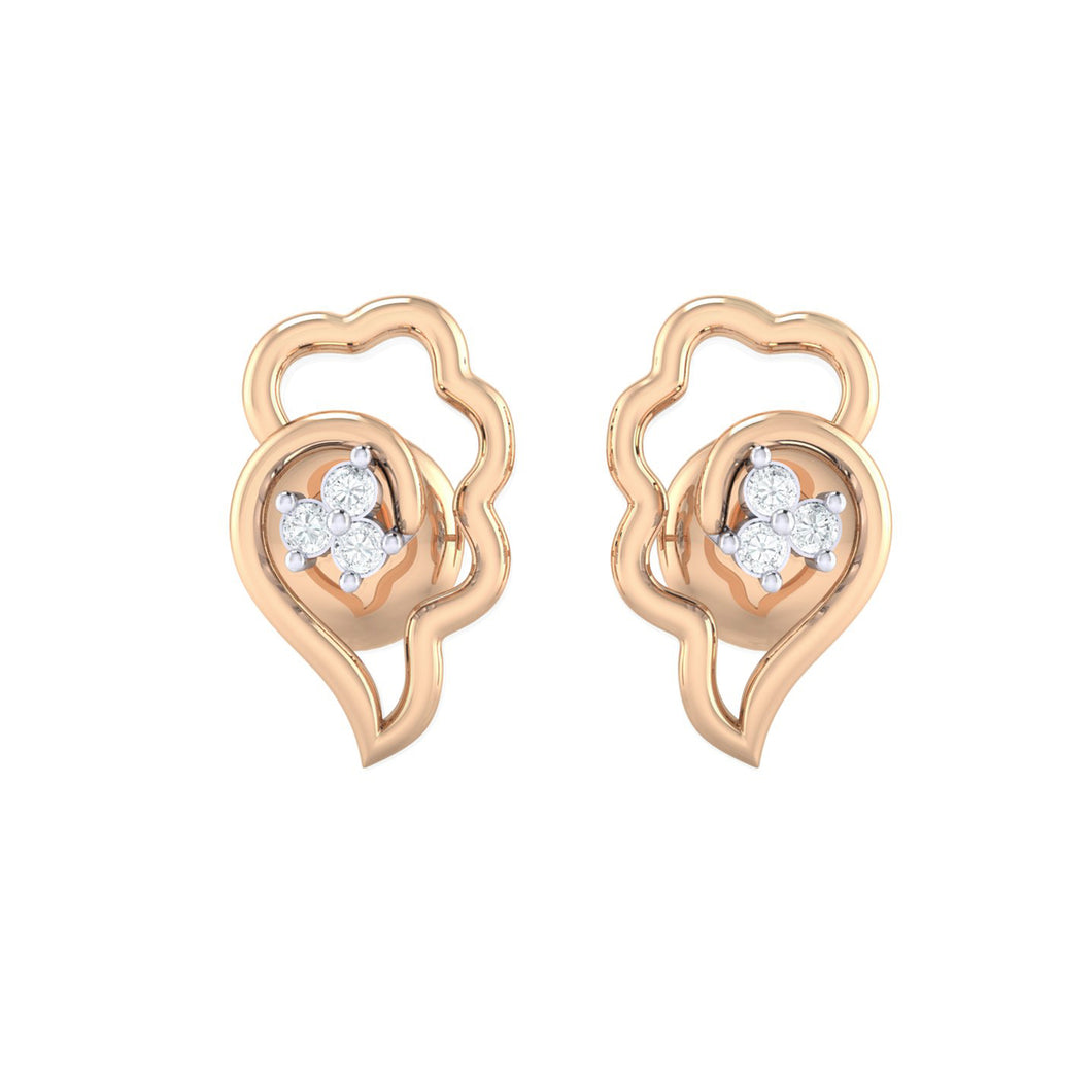 18Kt rose gold real diamond earring 34(2) by diamtrendz