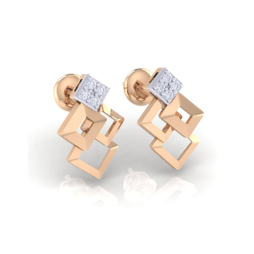 18Kt rose gold real diamond earring 35(1) by diamtrendz