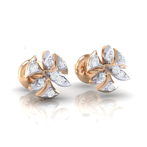 18Kt rose gold real diamond earring 36(1) by diamtrendz