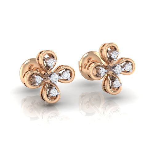 18Kt rose gold real diamond earring 37(1) by diamtrendz