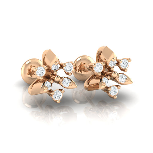 18Kt rose gold real diamond earring 38(1) by diamtrendz