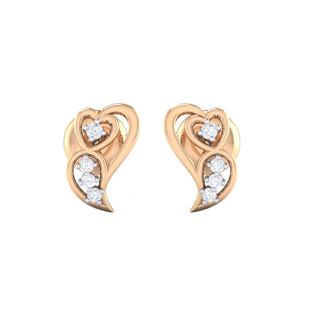 18Kt rose gold real diamond earring 39(2) by diamtrendz