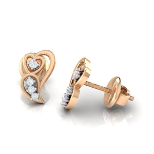 18Kt rose gold real diamond earring 39(3) by diamtrendz