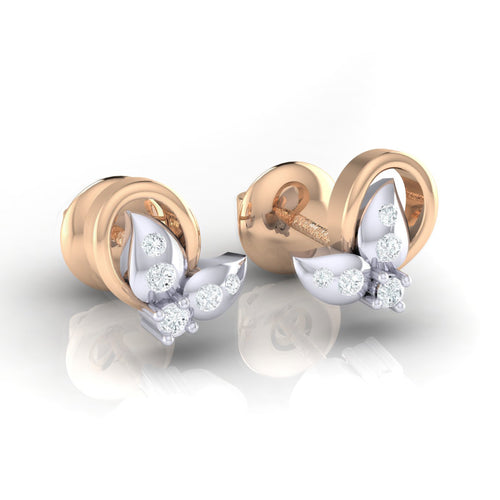 18Kt rose gold real diamond earring 40(1) by diamtrendz