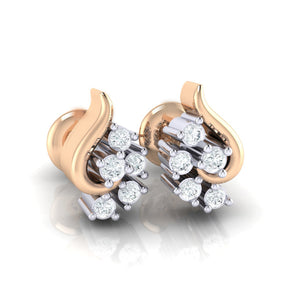 18Kt rose gold real diamond earring 42(1) by diamtrendz