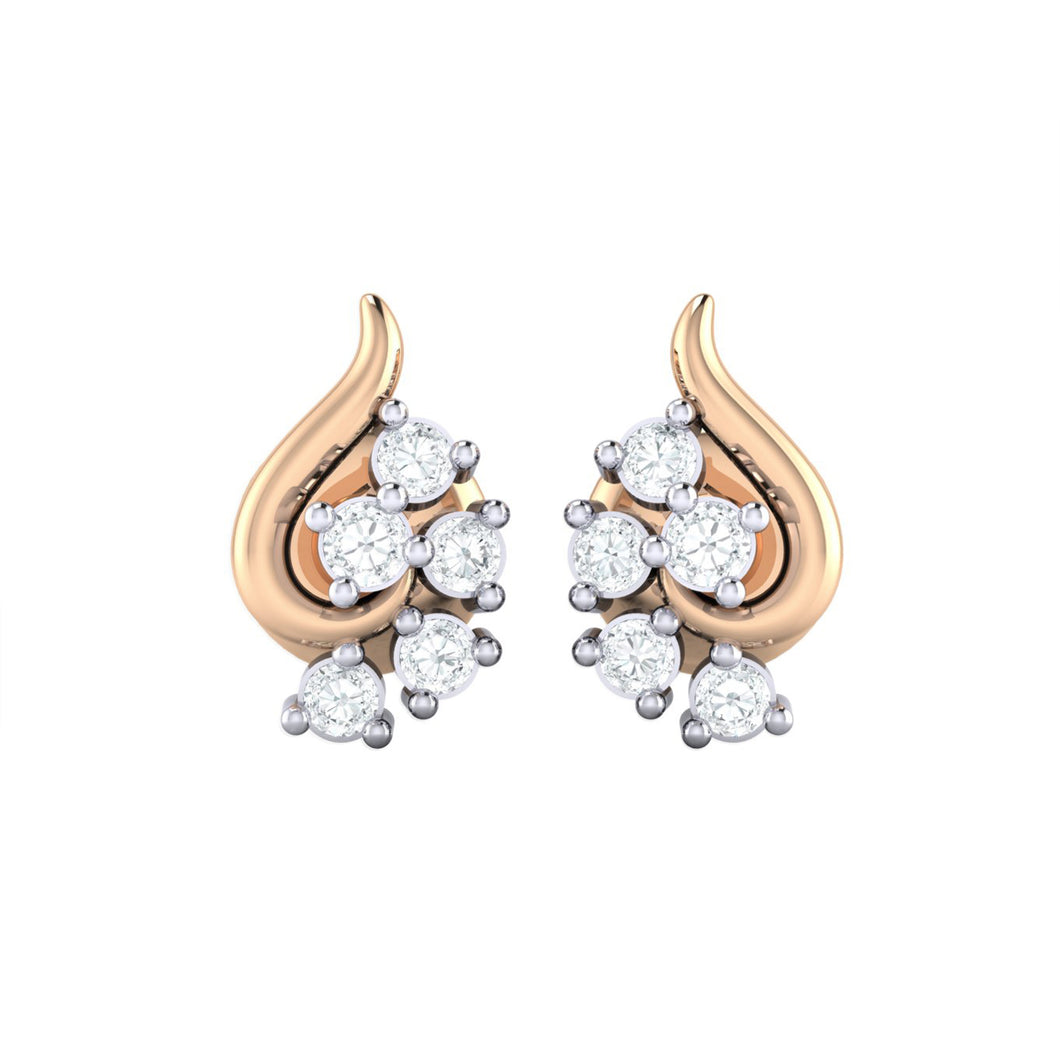 18Kt rose gold real diamond earring 42(2) by diamtrendz