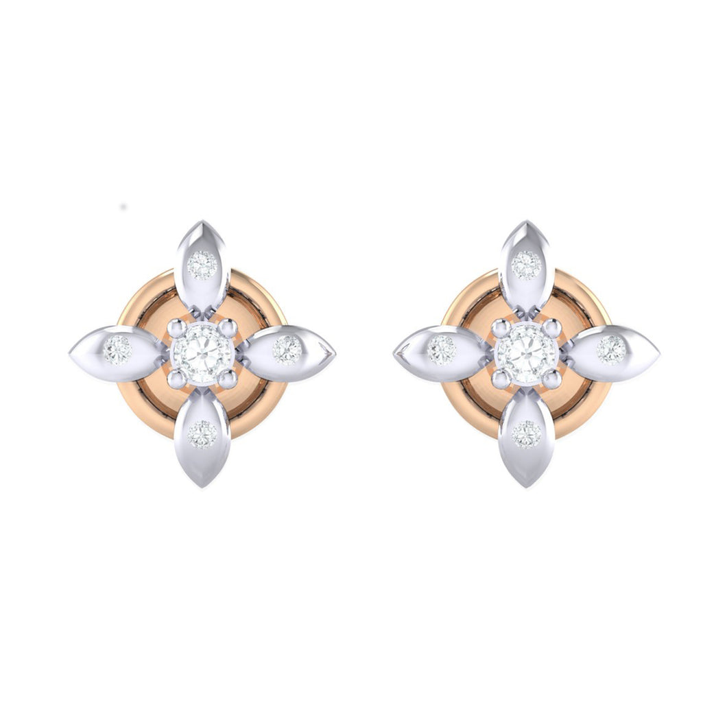 18Kt rose gold real diamond earring 43(2) by diamtrendz