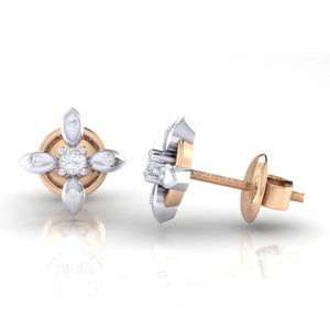 18Kt rose gold real diamond earring 43(3) by diamtrendz