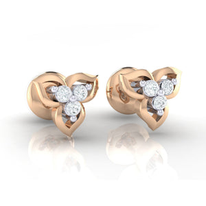 18Kt rose gold real diamond earring 44(1) by diamtrendz