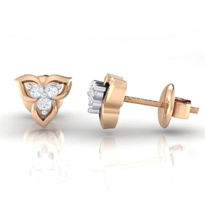 18Kt rose gold real diamond earring 44(3) by diamtrendz
