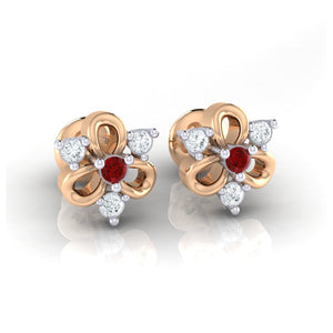 18Kt rose gold real diamond earring 45(1) by diamtrendz