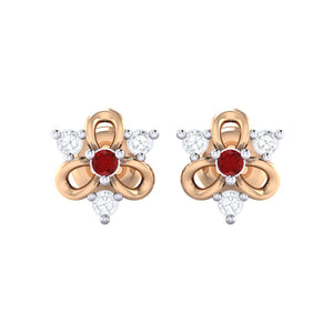 18Kt rose gold real diamond earring 45(2) by diamtrendz
