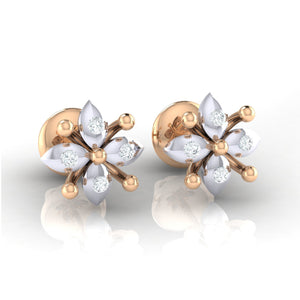 18Kt rose gold real diamond earring 48(1) by diamtrendz