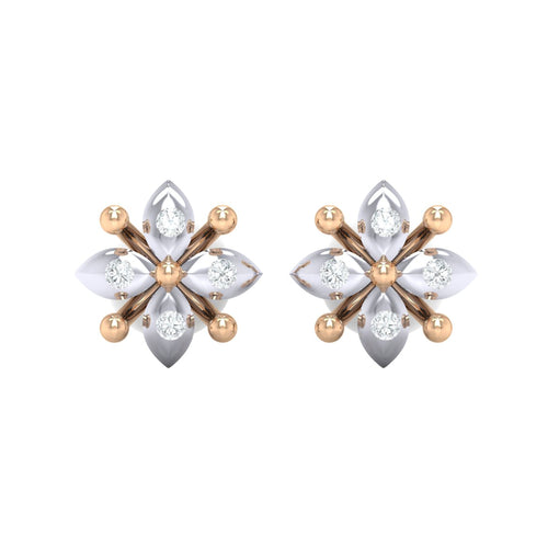 18Kt rose gold real diamond earring 48(2) by diamtrendz