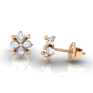18Kt rose gold real diamond earring 48(3) by diamtrendz