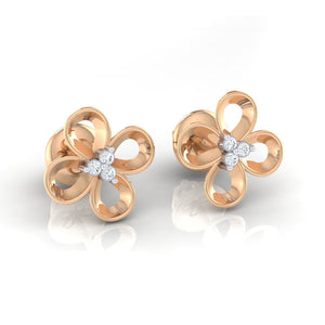 18Kt rose gold real diamond earring 49(1) by diamtrendz
