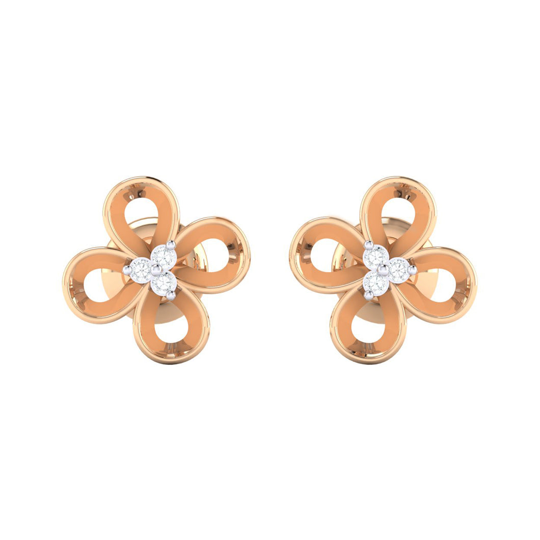 18Kt rose gold real diamond earring 49(2) by diamtrendz