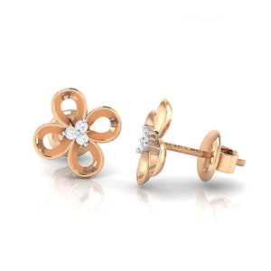 18Kt rose gold real diamond earring 49(3) by diamtrendz