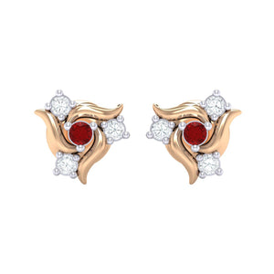 18Kt rose gold real diamond earring 50(2) by diamtrendz