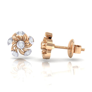 18Kt rose gold real diamond stud earring 52(3) by diamtrendz