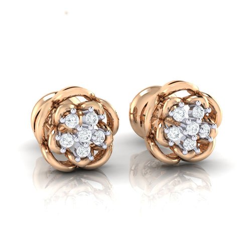 18Kt rose gold real diamond stud earring 53(1) by diamtrendz