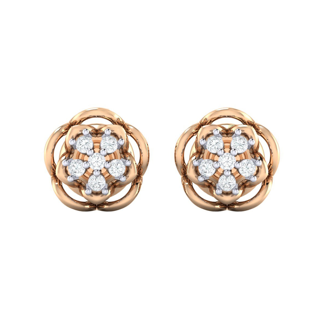 18Kt rose gold real diamond stud earring 53(2) by diamtrendz