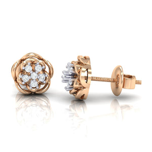 18Kt rose gold real diamond stud earring 53(3) by diamtrendz