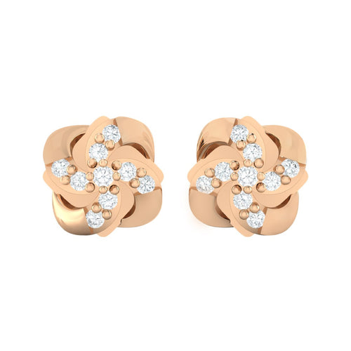 18Kt rose gold real diamond stud earring 54(2) by diamtrendz
