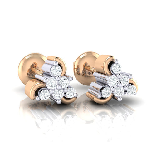 18Kt rose gold real diamond stud earring 55(1) by diamtrendz