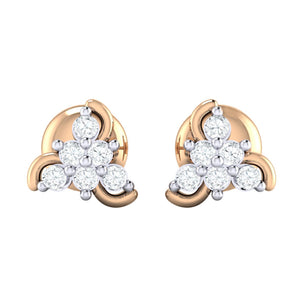 18Kt rose gold real diamond stud earring 55(2) by diamtrendz