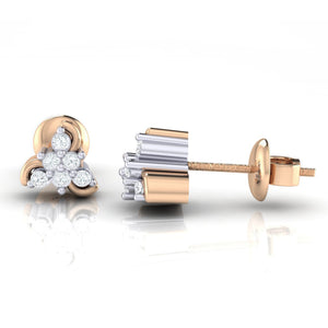 18Kt rose gold real diamond stud earring 55(3) by diamtrendz