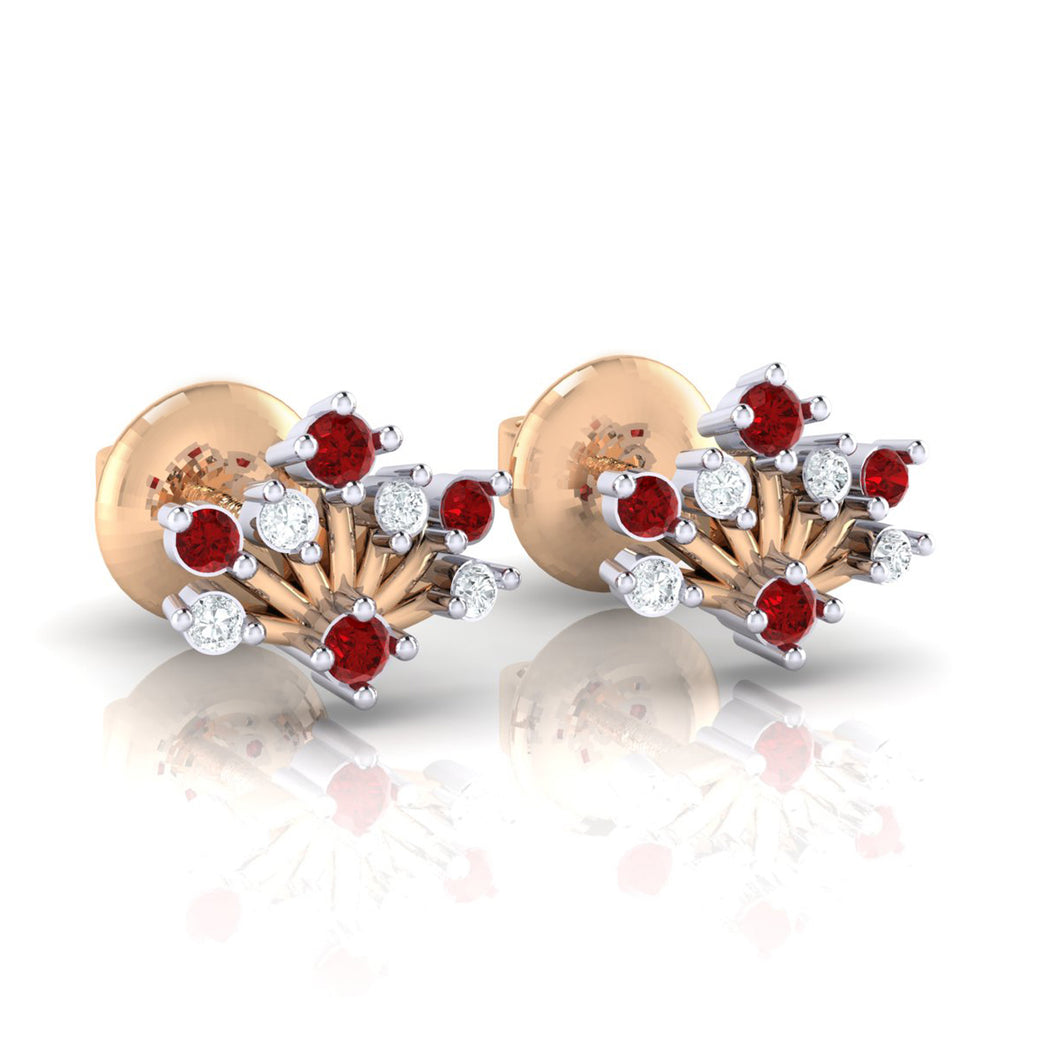 18Kt rose gold real diamond stud earring 56(1) by diamtrendz