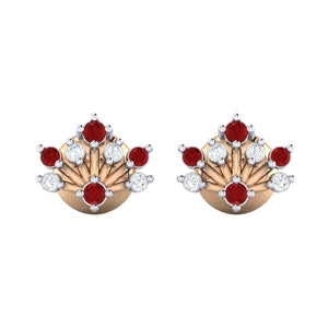 18Kt rose gold real diamond stud earring 56(2) by diamtrendz