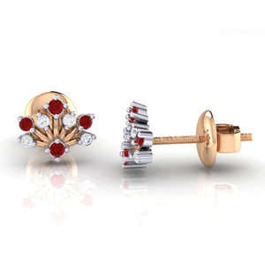 18Kt rose gold real diamond stud earring 56(3) by diamtrendz