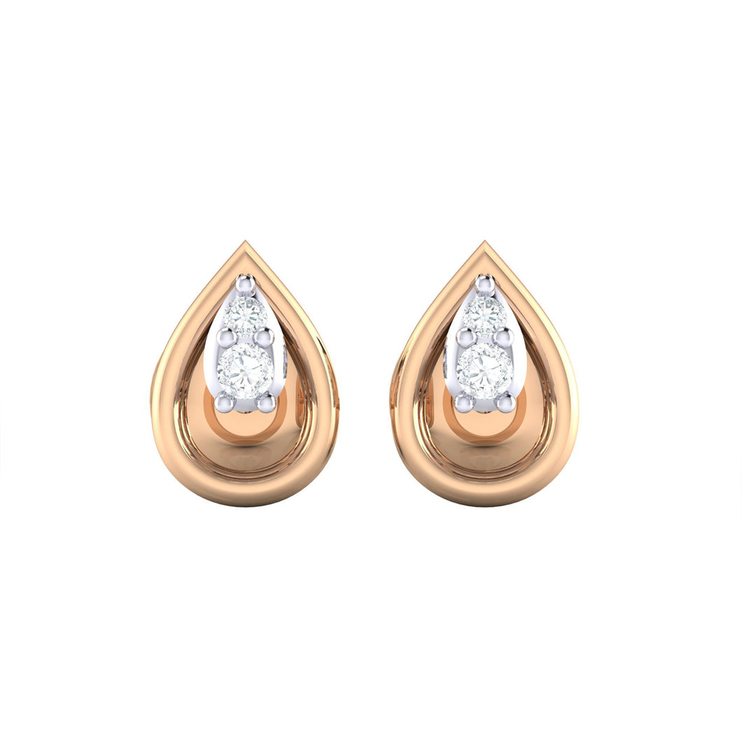18Kt rose gold pear diamond earring by diamtrendz