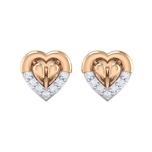 18Kt rose gold heart diamond earring by diamtrendz