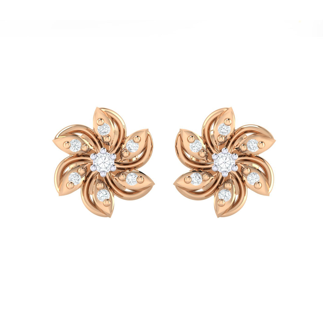 18Kt Gold Diamond Earring - Floral
