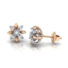 Load image into Gallery viewer, 18Kt rose gold floral diamond earring by diamtrendz