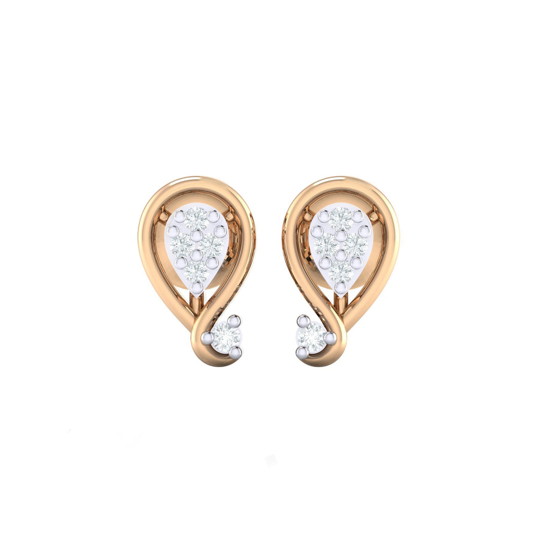18Kt rose gold real diamond earring by diamtrendz