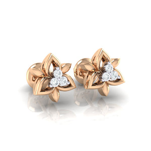 18Kt rose gold floral diamond earring by diamtrendz
